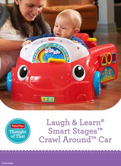 Laugh & Learn® Smart Stages™ Crawl Around™ Car features over 75 sung songs, tunes and phrases for interactive learning, plus the car encourages baby to sit, crawl and stand! #Development #Learning