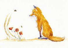 Bee a Summer Fox.  GreyPepperArt.  Commission a similar Original Watercolour: £30