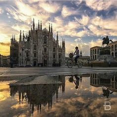 Milan Cathedral under a beautiful sky.
