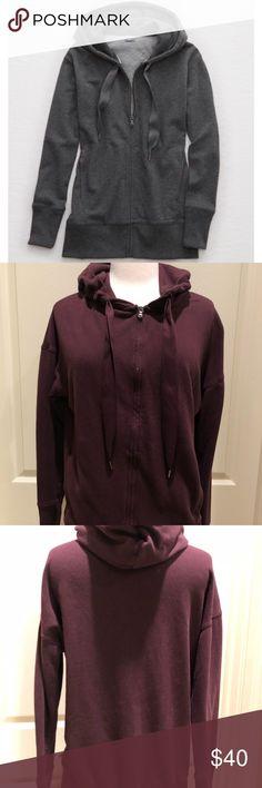 Aerie burgundy XS hoodie sweatshirt Aerie burgundy XS hoodie zip up sweatshirt. Worn once, in EUC. aerie Tops Sweatshirts & Hoodies
