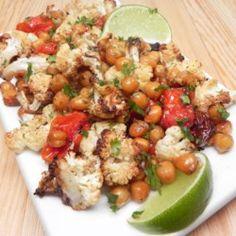 Easy Vegan Sheet Pan Roasted Cauliflower, Tomatoes, and Garbanzo Beans - Allrecipes.com