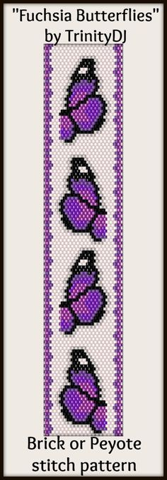 "NEW AND EXCITING NEWS : Here's your chance to test bead new designs and earn DISCOUNTS on your next 'In the Raw' Design! ""Fuchsia Butterflies"" (Brick or Peyote stitch bracelet pattern) is one of the designs in this section. Please follow this link for more info: http://cart.javallebeads.com/Fuchsia-Butterflies-Brick-or-Peyote-Stitch-Pattern-p/td089.htm"