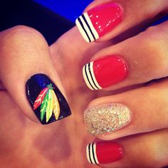 Chicago Blackhawks Nails! all red nails then black feathered thumb (no black and white stripes or glitter)