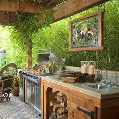 küche im innenhof attraktiv modern tolle dekoidee