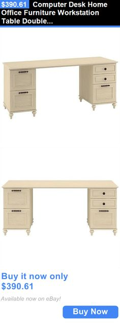 Office Furniture: Computer Desk Home Office Furniture Workstation Table Double Pedestal BUY IT NOW ONLY: $390.61