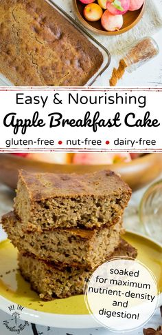 Say hello to a cozy, comforting, apple-y fall breakfast! This Soaked Apple Breakfast Cake is gluten-free, nut-free, and has dairy-free and sugar-free options. Apple Breakfast, Fall Breakfast, Breakfast Cake, Breakfast Ideas, Health Breakfast, Sin Gluten, Real Food Recipes, Cooking Recipes, Simple Recipes