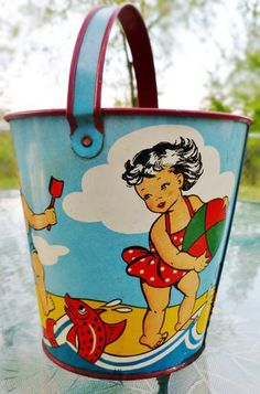 Vintage Little Girl Beach Pail