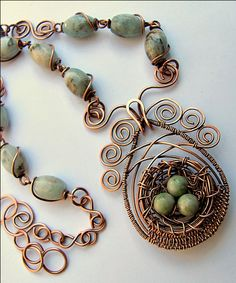 """Art -Z Jewelry. Prettiest """"birds nest"""" necklace I have seen yet.  Love the wire framing"""