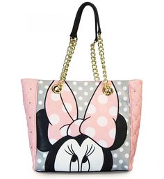 Disney Minnie Mouse Tote Purse Pink Quilted Gold Loungefly Licensed NEW NWT #Loungefly #TotesShoppers