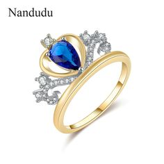 Nandudu Blue Crystal Crown Ring Rose  2017 New Arrival My Princess Queen Crown Stackable Rings Jewelry Gift R1194 #Affiliate