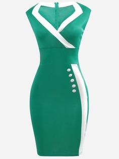 Elegant Contrast Trim Slit Bodycon Dress
