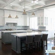Benjamin Moore-Chelsea Grey; Sunny Side Up - kitchens - shaker cabinets, white shaker cabinets, shaker kitchen cabinets, black quartz, black quartz countertops, carrera ...