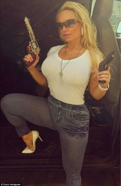 Gunslinger: On Saturday, Coco Austin Instagrammed an image of herself wielding a couple gu...
