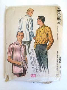 Vintage Sewing Pattern Men's 50's Partially by Freshandswanky, $10.00