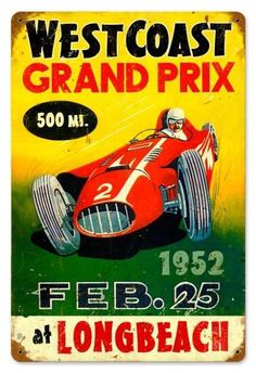 Retro Grand Prix Tin Sign 18 x 12 Inches