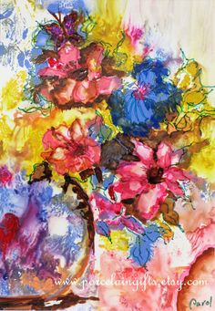 Colorful Flowers Watercolor Print - Set of 8 Notecards - 5x7 -  from original watercolor painting. $29.00, via Etsy.