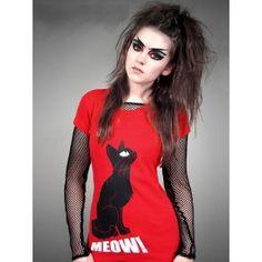 Tee Shirt Gothique Emo Kawaii Kitty Chat Miaou