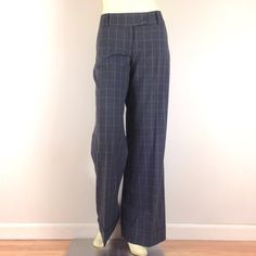 """Wide Leg Bell Bottom Check Pants Fantastic wide leg bell bottoms in charcoal grey & periwinkle blue check or grid pattern. Features low waist, tab closure, side pockets & cuffs! Gorgeous soft & smooth dress pants fabric with stretch. Excellent condition. Waist:35"""". Rise:9.5"""". Hips:46"""". Inseam:33"""".  Speechless Pants Wide Leg"""