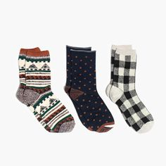 Three-Pack Navy Print-Mix Trouser Socks : socks and tights | Madewell