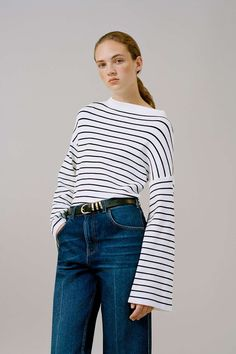 Wide Sleeve Stripe Jumper - Topshop USA