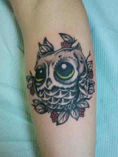 Owl tattoo by Kevin Rodriguez of Candy Apple Tattoos - Manitowoc, WI
