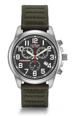 MEN'S STRAP Model: AT0200-05E  For a rugged look with a comfortable fit, this military-inspired watch fits the bill. A 1-second chrono that measures up to 60 minutes, this features 12/24 hour time, 39mm screw-back case and 100M WR. A black dial provides a backdrop for bold Arabic numerals, luminous hands & date, in a stainless steel case with green strap & patterned stitching.