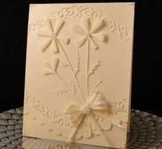 handmade card: Flower Bouquet by jasonw1 ... white on white ... die cut flowers ... pearl adornments ... simple feminine look ...