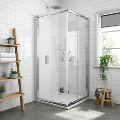 SHOP the Newark 800 x Corner Entry Shower Enclosure + Slate Effect Tray at Victorian Plumbing UK Corner Shower Units, Corner Shower Stalls, Shower Cabin, Sliding Glass Door, Sliding Doors, Square Shower Enclosures, Dream Shower, Bungalow Renovation, Shower Cubicles