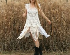 Beautiful vintage country chic wedding dress, would love this with a black silk sash