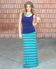 $22.99 - teal and navy striped maxi skirt. So cute.
