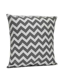 Monogrammed Grey Chevron Print Cushion Cover by EmbroideryByLindaP