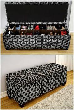 Bench with shoe storage - Master bathroom - master closet Diy Furniture, Furniture Design, Diy Home Decor, Room Decor, Diy Casa, Creative Storage, Shoe Storage, Storage Ideas, Small Apartments