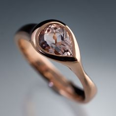 Pear Pink Morganite Tear Drop Bezel Solitaire Engagement Ring in Rose Gold (& other metal options) handmade by Nodeform