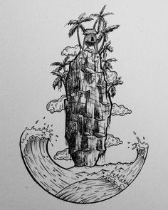 Check out this cool #penandink #nature #illustration by Steve Thomas (@steve.t97) of a towering cliff face surrounded by cresting waves and topped with a rather quaint looking stilthouse among some idyllic palm trees.  Note how Steve made the waves and the sea form part of a circle and that if you were to connect the foamy crest of the left wave with the right wave it would form a nice elliptical frame. However because of the way that Steve drew the waves amd the water you do not actually…