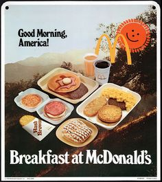 Retro Breakfast at McDonald's Ad Good Morning, America! Retro Ads, Vintage Advertisements, Vintage Ads, Vintage Prints, Retro Food, Vintage Food, Retro Advertising, Vintage Kitchen, 70s Food