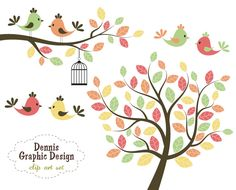 BUY 2 GET 2 FREE - Cute Bird Clip Art Trees and Branches - Personal and Commercial Use. $5.00, via Etsy.