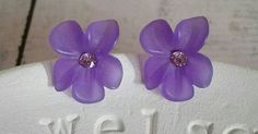 Mother Daughter Gift, Purple Violet Stud Earrings, Sterling Silver. Mom gift vintage flower, natural spring bridesmaid romantic jewelry  https://www.pinterest.com/pin/269441990187748038/