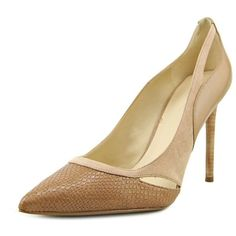 Nine West Nine West Joopitar Pointed Toe Synthetic Heels | Bluefly.Com ($32) ❤ liked on Polyvore featuring shoes, pumps, khaki, pointed toe dress shoes, grip shoes, nine west pumps, pointy toe high heel pumps and khaki dress shoes