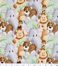 Nursery Fabric Jungle Babies Animal All Over, , hi-res