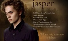 Holy creepy pictures of Jasper!The couldn`t have found a picture of Jasper that … Holy creepy pictures of Jasper!The couldn`t have found a picture of Jasper that didn`t look like he wanted to murder me? Jasper Twilight, Twilight Saga New Moon, Twilight Quotes, Twilight Saga Series, Twilight Cast, Twilight Pictures, Twilight Movie, Twilight Poster, Jackson Rathbone