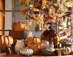 Fall decor - they are inspiring us during our last weeks of summer #potterybarn. Michael's craft store often has very good artificial flowers, stems, etc. that are good enough to create the same look for less $