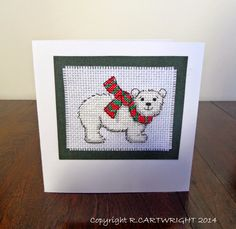 Craft with Ruth Cartwright: Christmas cross stitch Polar bear card