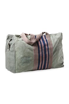 Best Weekend Bag  This supersoft tote is made from recycled army surplus bags.