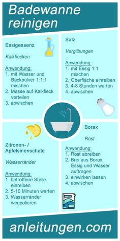 Cleaning the bathtub - These household remedies make the bathtub child .Cleaning the bathtub - With these household remedies, the bathtub can be cleaned very easily and freed from various soiling such as lime stains Household Cleaning Tips, Cleaning Day, House Cleaning Tips, Diy Cleaning Products, Cleaning Hacks, Deep Cleaning, Clean Bathtub, Bathtub Cleaning, Home Hacks
