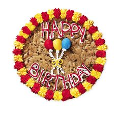 Happy Birthday Big Cookie cake Moist and chewy, our colossal cookie cakes are made with real butter, whole eggs, and pure vanilla Topped with colorful frosting and personalized with any one of our sta Cookie Cake Decorations, Cookie Cake Designs, Wedding Cake Decorations, Cookie Decorating, Decorating Ideas, Big Chocolate, Chocolate Chip Cookie Cake, Happy Birthday Cookie, Birthday Cookies
