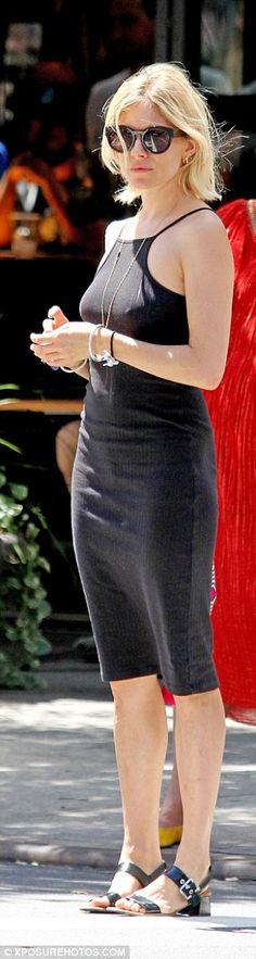 Sienna Miller braless in black dress after split from fiance Tom Sturridge | Daily Mail Online