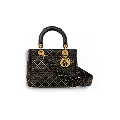 SUPPLE LADY DIOR BAG IN STUDDED BLACK LAMBSKIN ❤ liked on Polyvore featuring bags, handbags, lambskin handbags, lamb leather bag, lamb leather handbags, studded purse and studded handbags