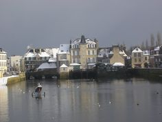 Landerneau sous la neige Brest, Brittany, New York Skyline, Images, City, Travel, Roots, Snow, Watercolor Painting