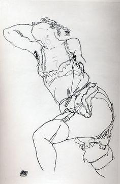 inclinable modèle dans chemise et bas, dessin de Egon Schiele (1890-1918, Austria)