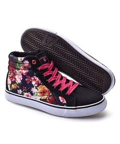 Another great find on #zulily! Black & Fuchsia Mid-Rise Sneaker #zulilyfinds